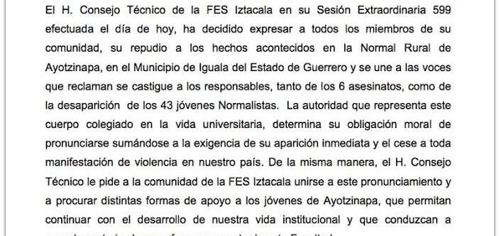 Pronunciamiento del H. Consejo Técnico de la FES Iztacala en torno al caso Ayotzinapa